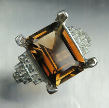 10.75cts Natural Imperial topaz & white topaz 925 Sterling silver ring