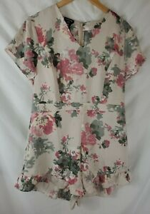 $119 BEBE Women' Size 16 Floral Satin V-Neck Ruffle Romper Shorts New with Tags