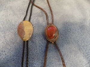 PAIR (2X) BOLO TIES vintage banded Agate stone   Western string style bola