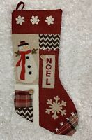 """Dan Dee Collector's Choice Christmas Stocking Appliqued 18"""" Country Farmhouse"""