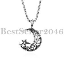 """Men Women Vintage  Crescent Moon and Star Pendant Stainless Steel Necklace 22"""""""