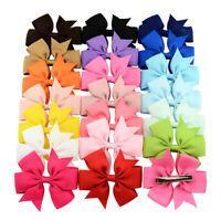 20Pcs Kids Baby Girls Barrette Candy Colour Ribbon Mini Bow Hair Clip Hairpin