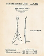 """1958 Gibson Flying V Guitar Art Gifts For A Guitar Player McCarty 11""""x14"""" Patent"""