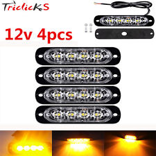 4X Amber 4 LED Car Flash Truck Emergency Beacon Light Bar Hazard Strobe Warning
