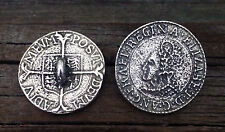 2 Elizabethan Shilling Coin Pewter Shank Buttons 1 Inch (25 mm) #0714