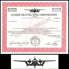 Custer Channel Wing Corporation MD specimen Stock Certificate