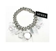 NEW GUESS SILVER TONE CHARM BRACELET LINK CHAIN LADY'S LOGO WATCH W8512L1