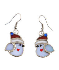 Winter Bird Earrings Switchables Stained Glass  JE201