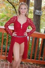 Burgundy lace custom competition  dance  costume lyrical open modern AS  pageant
