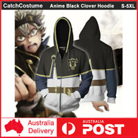 Anime Black Clover Hoodie Asta Cosplay Sweatshirt Sweater Zipper Jacket Coat
