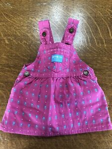 Vintage 90s :: Oshkosh Jumper Overalls 18M :: Vibrant Pink with Blue Flowers!