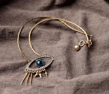 Hamsa Crystal Eye Good Luck Friendship Karma Lucky Fatima Rivet Bronze Necklace