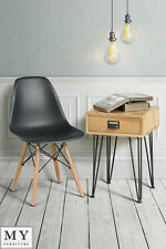 My-Furniture industrial side table solid oak and steel - FELIX