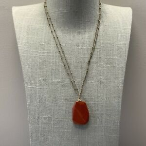 Cold water creek red Jasper stone necklace in antique gold