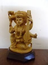 Saraswathi Devi Statue Hindu Goddess Saraswati Handcarved Murti Cedar Sculpture