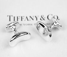 Tiffany & Co. Elsa Peretti Sterling Silver Bean Cuff Links in Pouch and Box