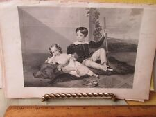 Vintage Print,BRO+SIS BEAUTIFUL FACES,Godeys Ladys Book,1849
