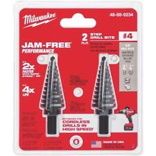 Milwaukee High-Quality 3/16 In. - 7/8 In. by 1/16 In. #4 Step Drill Bit (2-Pack)