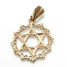 Vintage 14k rose gold Jewish Star of David Pendant Wreath Border Judaica Estate