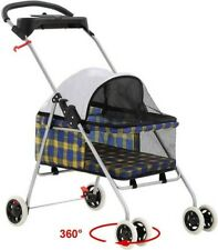 BestPet New Yellow Plaid Posh Pet Stroller Dogs Cats w/Cup Holder - Free Ship