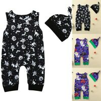 Newborn Baby Boys Girls Pumpkin Romper Jumpsuit Hat Halloween Party Outfits Set
