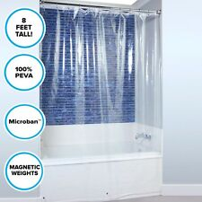 Floor to Ceiling PEVA Plastic Shower Liner: Mildew Resistant Clear Curtain Liner