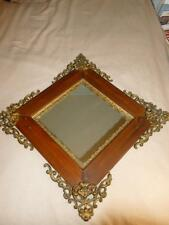 Antique Gesso Boarder Wood & Ornate Cast Metal Wall Mirror