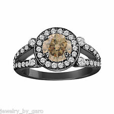 CHAMPAGNE BROWN DIAMOND ENGAGEMENT RING VINTAGE STYLE 14K BLACK GOLD 1.54 CT