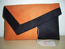OVER SIZED ORANGE & BLACK Faux Suede Clutch. LOVINGLY Handmade in the UK.