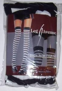 Opaque Stripe Thigh High Stockings Black White LEG AVENUE OSFM Costume Halloween
