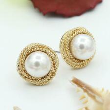 Women 15mm Round White Pearl Gold Stainless Steel Post Pin Stud Earrings Jewelry