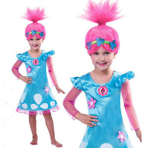 Girls Kids Cosplay Trolls Poppy Fancy Dress Birthday Party Ball Gown Costume NEW