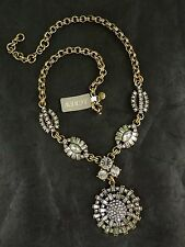"NWT J. CREW RADIAL MEDALLION CRYSTAL STATEMENT NECKLACE 19"" + 2.25""L"