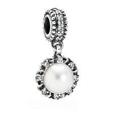 NEW! Authentic Pandora Everlasting Grace White Pearl & CZ Charm #791385P $75