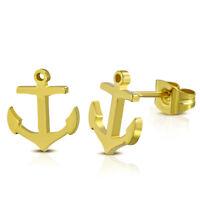 Ohrstecker Anker Gold aus Edelstahl Unisex Damen Herren Frauen Männer Ohrringe