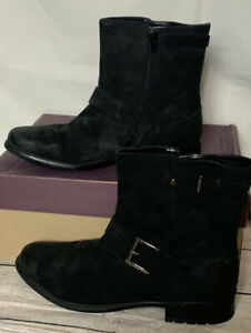 NIB CLARKS Women's Black Plaza Float Boots Side Zip Buckles Ankle Boots Sz 10 M