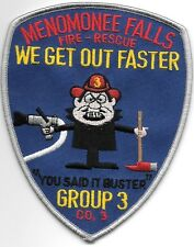 "Menomonee Falls  Company - 3 / Group - 3, WI (4"" x 5"" size) fire patch"