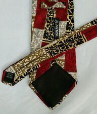 Pavone Mens Designer Necktie Classic Silk Tie Green Dark Red Knit Look