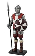 "13"" Medieval Times Maltese Knight Figurine Battle Round Shield Pike"