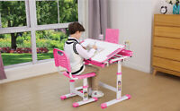 Used Ergonomic Children's Adjustable Study Desk Chair Set Tilt Desktop Storage
