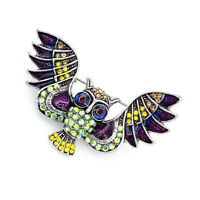 Betsey Johnson Jewelry Cute Enamel Crystal Owl Charm Animal Brooch Pin Gift
