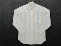 Tommy Bahama Mens Shirt Size Medium Button Down LS Top Stripes White Blue Green