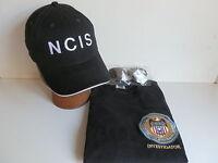 NCIS Badge on Black T-Shirt size  M 38/40 inch chest+NCIS Cap+Free sunglasses