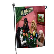 Home of Cocker Spaniel 4 Dogs Playing Poker Garden Flag