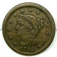1845 Penny Braided Hair Large Cent - Original- Nice Coin.
