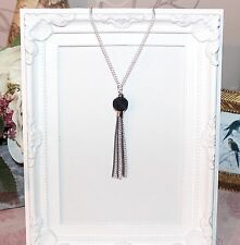 Vintage/flapper/1920's long silver necklace with black mesh bead & chain tassel