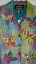 INDIGO MOON butterfly jacket  xs sequin embroidered India blue green handmade