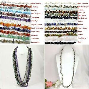 """Natural Gemstone Chips Nugget Freeform Loose Bead 34"""" Chip Necklace Bracelet USA"""