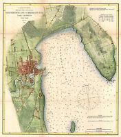 1872 US Coastal Survey Map of Plattsburgh and Lake Champlain, New York Poster