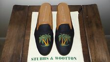 """SO CUTE! $450 Stubbs and Wootton Black Linen """"PALMS"""" Mules Slippers Loafers Shoe"""